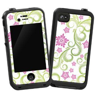 """Pink Floral and Green Swirls """"Protective Decal Skin"""" for LifeProof iPhone 4/4s Case Cell Phones & Accessories"""