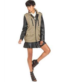 W118 by Walter Baker Coat, Long Sleeve Faux Leather Pocket   Coats   Women