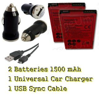 HTC EVO 4G 2X Battery + Universal Car Auto Charger + USB Sync Cable Cell Phones & Accessories