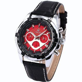 ORKINA Chronograph Red Dial Black Leather Band Mens Quartz Sport Wrist Watch ORK134 at  Men's Watch store.