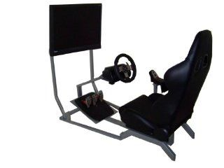 GTR Racing Simulator   GT Model with Real Racing Seat, Driving Simulator Cockpit with Gear Shifter Mount and Single Monitor Mount   Video Game Chairs