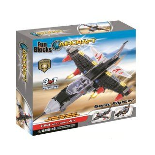Fun Blocks (Compatible with Lego) Military Sonic Fighter Jet 3 in 1 Brick Set (134 Pieces) Toys & Games