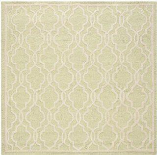 Safavieh Cambridge Collection CAM131B Handmade Wool Square Area Rug, 6 Feet, Light Green and Ivory