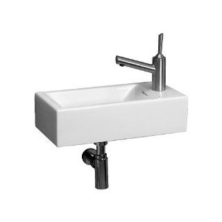 Whitehaus WH1 114R WH Isabella 19 3/4 Inch Wall Mount Lavatory Basin with Central Drain and Right Hand Faucet Drilling, White   Wall Mounted Sinks