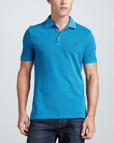 Burberry Brit Short Sleeve Equestrian Knight Polo, Deep Turquoise