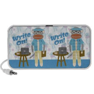 Write On Writer Sock Monkey iPod Speakers