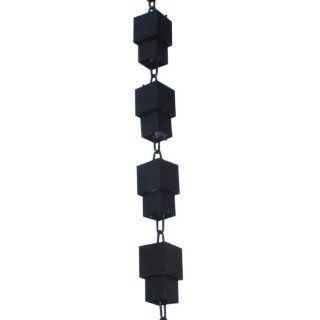 Monarch Rainchains Aluminum Square Cups Rain Chain, 8.5 Feet, Black Powder Coated  Patio, Lawn & Garden