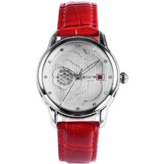 Lady Women Silver Case Crystal Rose Pattern Red Leather Awesome Quartz Wrist Watch WK1108 at  Women's Watch store.