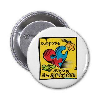 Autism Awareness Heart Puzzle Pieces Button