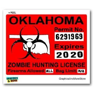 Oklahoma OK Zombie Hunting License Permit Red   Biohazard Response Team   Window Bumper Locker Sticker Automotive