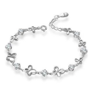 Platinum White Gold Plated Sterling Silver 925 Bracelet Women Cz Crystal Butterfly Elegant Fashion Girl Hand Chain authentic Jewelry Accessory for lady  Beauty