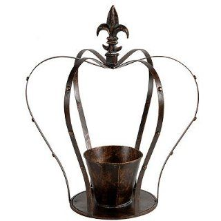 Metal Crown Candle Holder Planter w/ Fleur De Lis