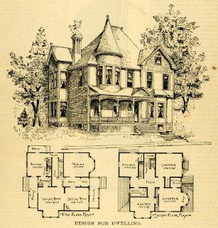 1891 Print Home Architectural Design Floor Plans Victorian Architecture Dwelling   Original Halftone Print