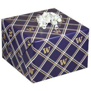 NCAA Washington Huskies Purple Logo Print Plaid Gift Wrap Paper   Ornament Hanging Stands