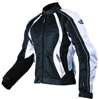 AGV Sport Xena Women's Vented Textile On Road Motorcycle Jacket   Black/White / Large: Automotive