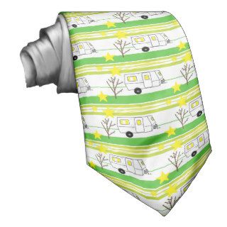Vintage Travel Trailer Stripes Yellow White Green Neck Wear