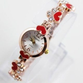 Red classtic diamond clover sexy gift rose golden girl's lady's women's wrist watch bracelet bangle: Health & Personal Care