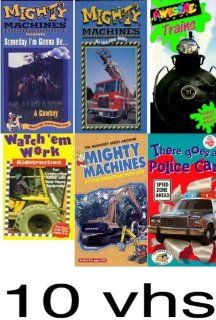 set 10 vhs Mighty Machines   Someday I'm Gonna BeA Cowboy, Mighty Machines In The Harbour /, Watch Em WorkKidstruction, Hard Hat Harry's Real Life Helicopters For Kids, Mighty Machines   At the Fire Hall, Awesome Trains, Mighty Machines   In the