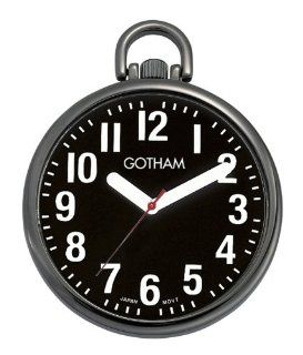 Gotham Men's Gun Metal Ultra Thin Bold Number Open Face Quartz Pocket Watch # GWC15033BBK at  Men's Watch store.