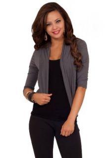 3/4 Sleeve Fitted Jersey Waist Length Stretch Bolero Shrug Casual Cardigan Wrap Tunic Shirts