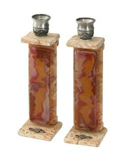 "Shop Jewish Collector's Shabbat Sabbat Candle Holders / Sticks Jerusalem Stone & Fused Glass & Pewter Hand Made In ISRAEL By The Renowen Artist Koresh Size 7.5"" x 2.0"" . Great Gift For Rosh Hashanah Sabbath Purim Sokot Simchat Torah"