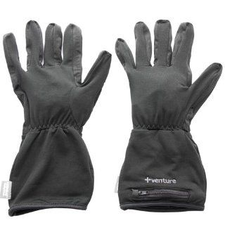 Venture Heated Clothing Glove Liners is made out of a wind and water resistant poly/spandex. These gloves are infused with heating elements that run the length of the fingers, taking the chill off immediately.: Automotive