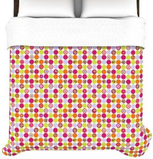 Kess InHouse Julia Grifol Happy Circles 68 by 88 Inch Duvet Cover, Twin