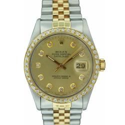 Pre owned Rolex Men's Datejust Two tone Champagne Diamond Dial Watch Rolex Men's Pre Owned Rolex Watches