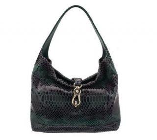 Dooney & Bourke Snakeskin Embossed Leather Pocket Sac w/Logo Lock —