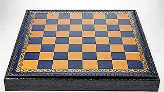 Schachbrett Kassette antike Optik Schach blau & gold Chess BGB209: Küche & Haushalt