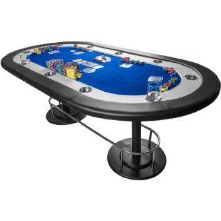 Pokertisch FULL HOUSE blau, 208 x 106 x 80 cm, Gewicht 50kg, massive MDF Platte, inkl. 10 Getr�nkehalter Sport & Freizeit