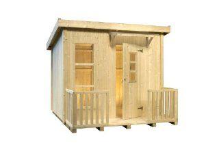 Kinderspielhaus Lars 223 x 199 cm aus Holz mit Flachdach und Terrasse von Gartenpirat� Spielzeug