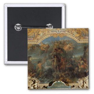 King Louis XIV  taking up Arms on Land and on Pinback Button