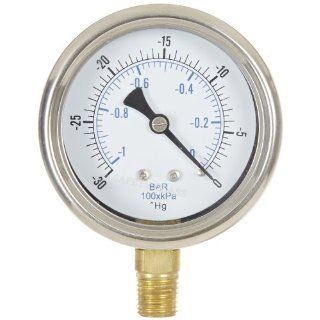 """PIC Gauge 211D 254A Dry Filled Industrial Bottom Mount Adjustable Pressure Gauge with Removable Bezel, Stainless Steel Case, Brass Internals, Glass Lens, 2 1/2"""" Dial Size, 1/4"""" Male NPT Connection Size, 30""""/0 hg Vac psi Range: Industrial &am"""