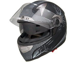 DOT Approved Motorcycle Helmet Full Face Chemical Reaction + Dual Smoke Visor EVOS Sport Street Bike Cruiser Scooter Snowmobile ATV Helmet   Large: Automotive
