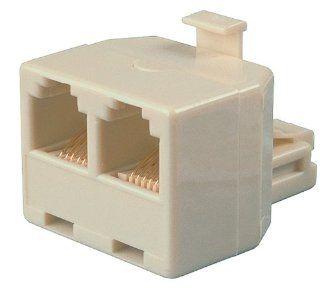 Allen Tel AT267B T Two 4 Conductor 6 Position Jacks and One 4 Conductor 6 Position Plug Adapter, Ivory Electronics