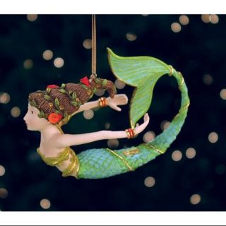 4.5 Patience Brewster Krinkles Hand Painted Tropical Mermaid Christmas Ornament Christmas Decor