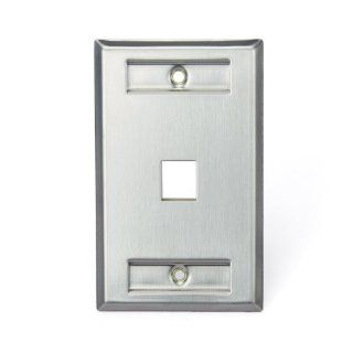 Leviton 43080 1L1 QuickPort Wallplate, Single Gang, 1 Port, Stainless Steel, with Designation Window