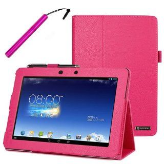 BIRUGEAR Hot Pink SlimBook Leather Folio Stand Case Cover with Stylus for Asus Memo Pad FHD 10 ME302C   10.1'' Full HD IPS Display Tablet Computers & Accessories