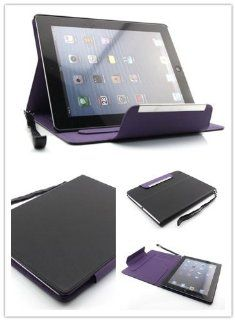 Big Dragonfly High Quality Smooth Print Protective Folio Leather Cover Book Case for Apple iPad 2 iPad 3 iPad 4 with Built in Kickstand & 3 Card Slots & Hand Strap & Safe Magnet Button (Auto Wake/Sleep Feature) Retail Package Black/Purple (Colo