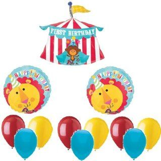 CIRCUS Monkey TENT Big TOP #1 1st Happy Birthday PARTY Mylar Latex BALLOONS Set: Health & Personal Care