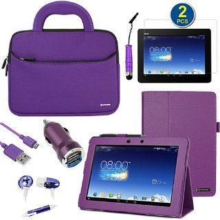 BIRUGEAR 8 Items Essential Accessories Bundle kit for Asus Memo Pad FHD 10 ME302C   10.1'' Full HD IPS Display Tablet    Purple SlimBook Leather Folio Stand Case Cover included Computers & Accessories