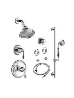 Kohler K DEV BNDL 4 304 KS BN Brushed Nickel Devonshire Devonshire Complete Pressure Balancing Shower System with Rain Showerhead and Multi Function Handshower with Valves Included K DEV BNDL 4 304 KS   Bathtub And Showerhead Faucet Systems