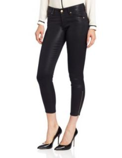 7 For All Mankind Women's Cropped Skinny Jean with Ankle Zip in High Gloss Black Black Coated Jeans