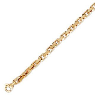 14K Solid Yellow Gold Hip Hop Bullet Chain Bracelet 4mm (5/32 in.)   8.5 in.: IceNGold: Jewelry
