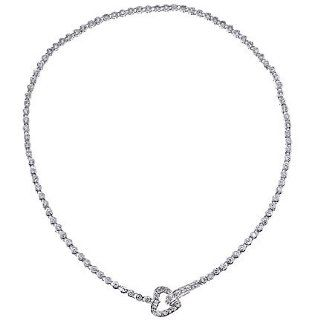 """CleverEve Designer Series Tiffany Inspired Sterling Silver CZ Tennis Heart Necklace 17.0"""" Chain Necklaces Jewelry"""