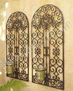 "Extra Large 50"" Iron Scroll Wall Panel Candle Holder  Candle Sconces  Patio, Lawn & Garden"