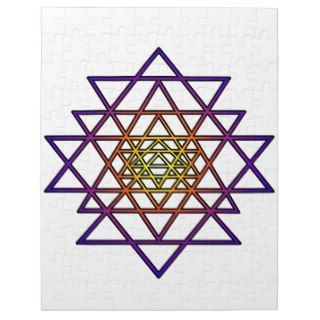 Triangle Mandala (yellow purple) Sri Yantra Puzzles