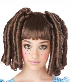 Girls Brunette Baby Doll Curls Wig with Bangs (Standard) Clothing