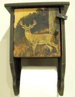 Whitetail Deer Wooden Toilet Paper Holder